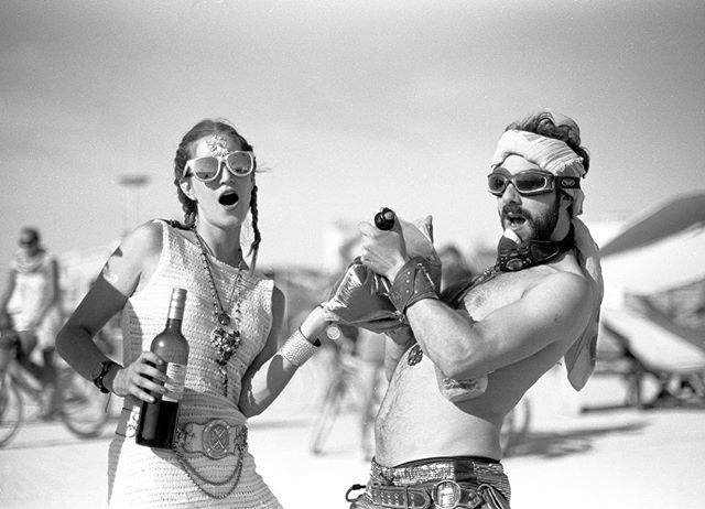 Burn shenanigans with Ari and Olivia . #burningman2018 #teddiesonteddies #fujifilm #acros100 #filmphotography #wine #filmisalive #winebaby
