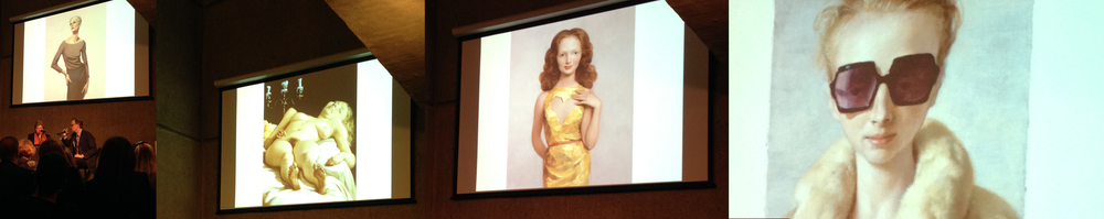 From left to right: Curator, Donna De Salvo and John Currin beneath  Skinny Woman, 1992  (Whitney Museum of American Art, New York);  Nude on a Table , 2001 (The Art Institute of Chicago, Chicago);  Heartless , 1997 (Private Collection, New York); and  Rachel in Fur , 2002 (Private Collection).  Photo Credit: Cincala Art Advisory