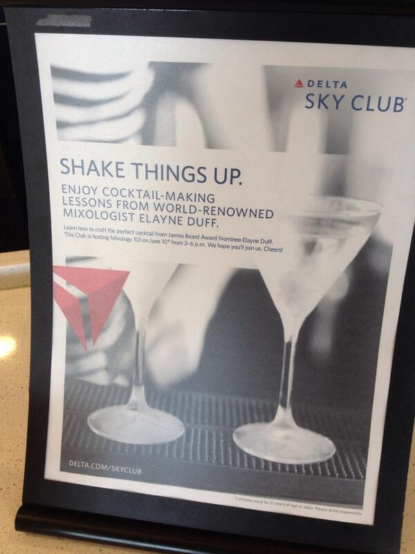 Elayne Duff the official mixologist for Delta Airlines, teaching classes in their elite lounges around the country.