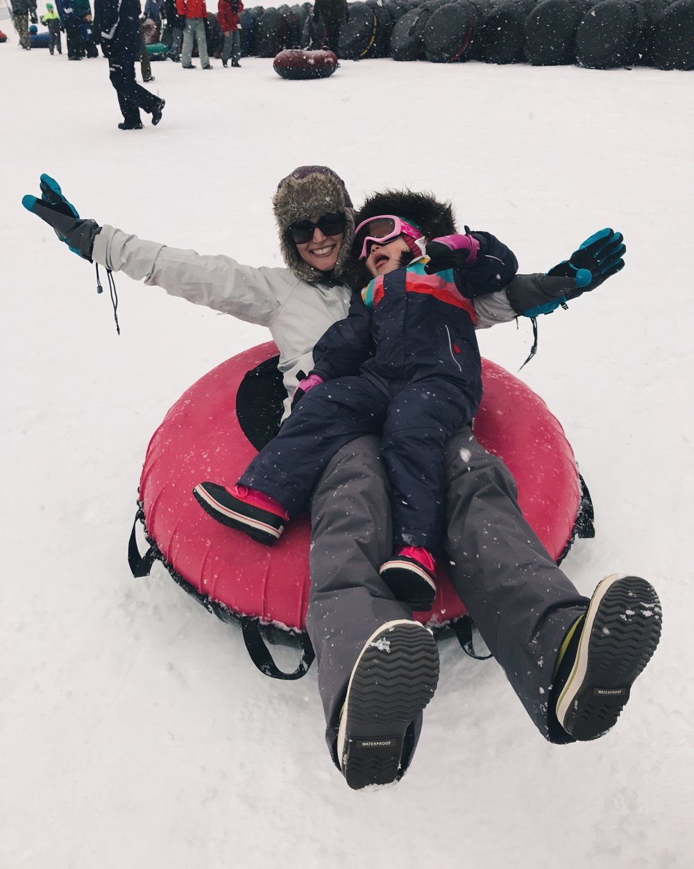 FAMILY ACTIVITY - Families that sled together stay together. Also, the girl's first time sledding. She LOVED it. Hearing her giggle and laugh was special.