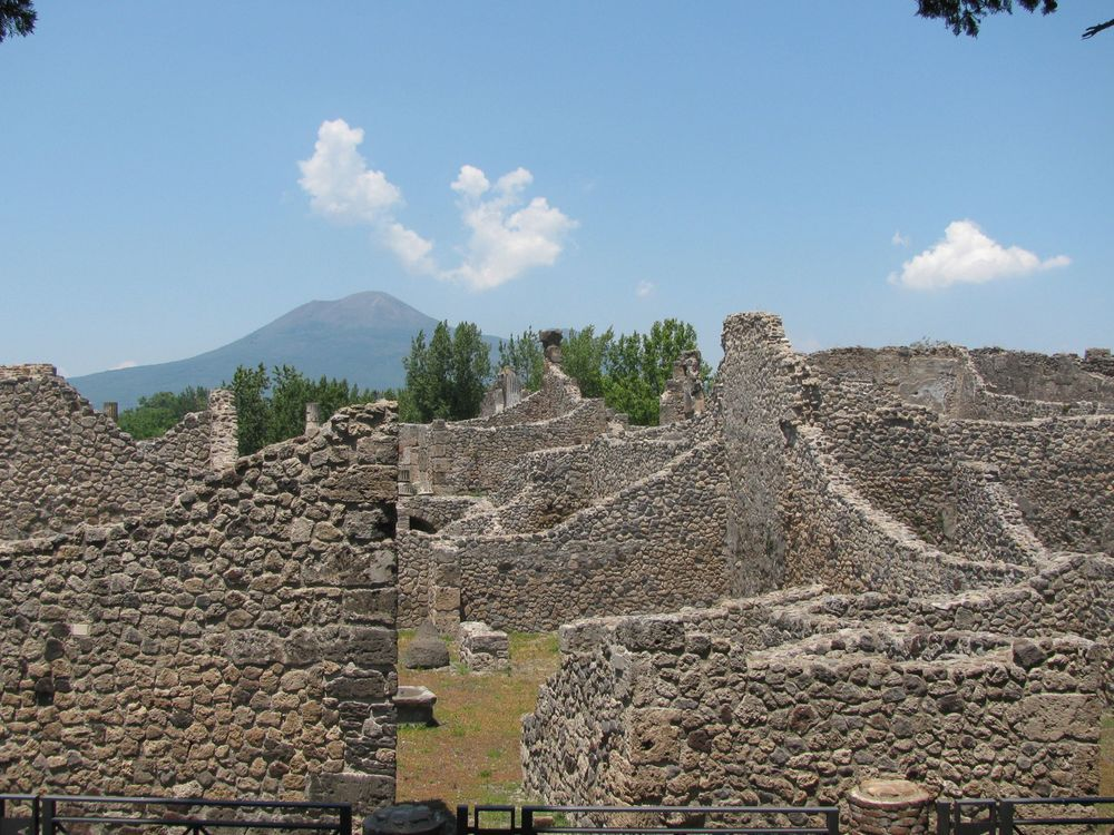 The ruins of Pompeii with Mt. Vesuvius beyond