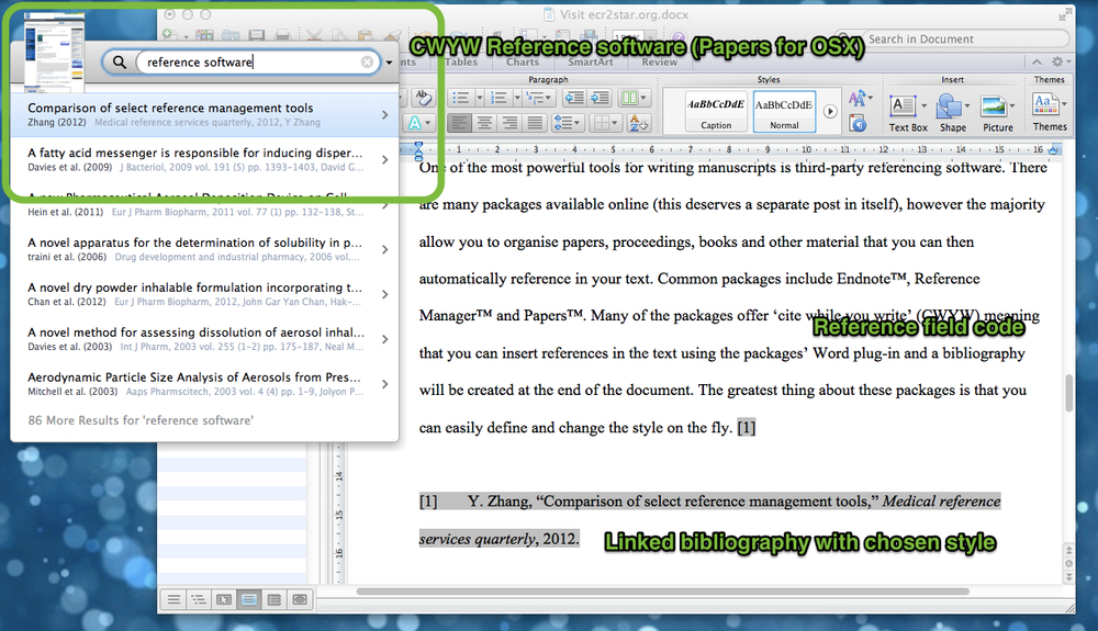 Using reference software with MS Word