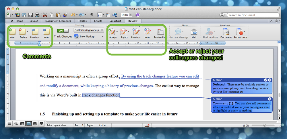 Using Track Changes in MS Word