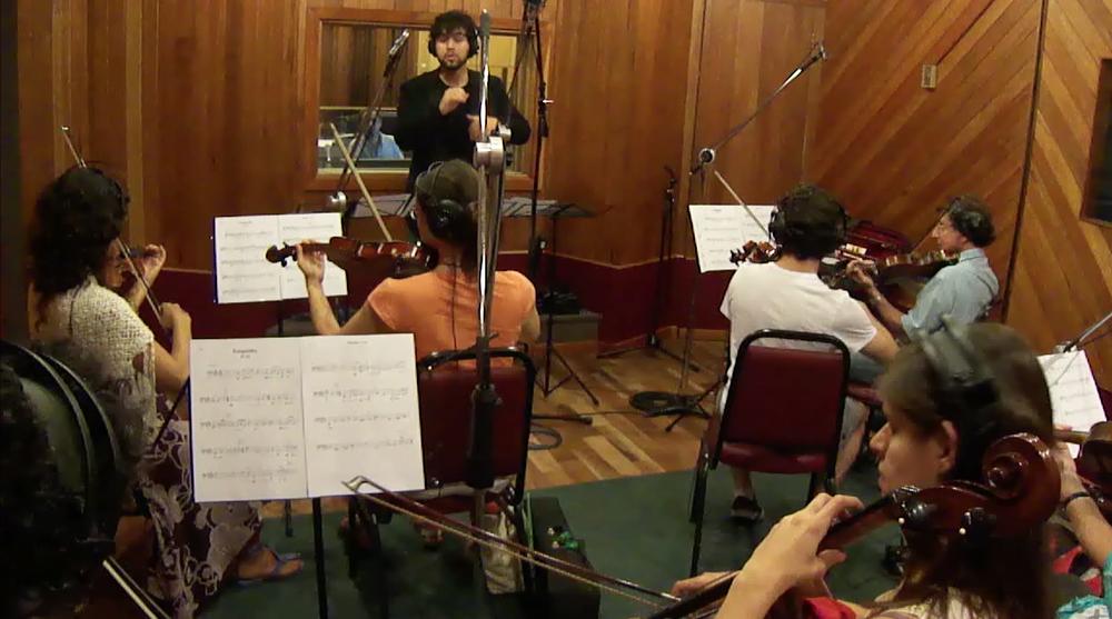 Recording strings on  Estúdio Drum  in Laranjeiras, Rio de Janeiro