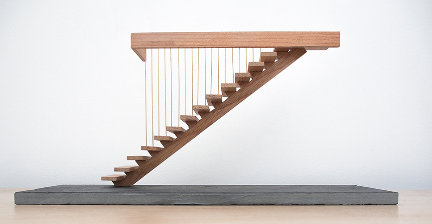 Stair Model  Brass, Oak and Slate  8.5 x 30 x 15cm