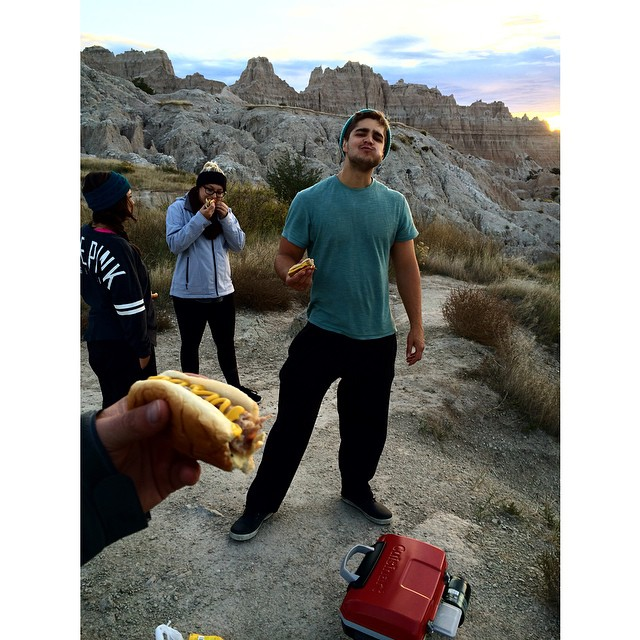 Sausage on the go at 8am. #Badlands #thegreatsend