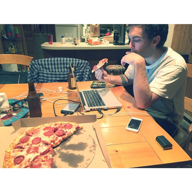 Another great shoot finished. #pizzaAndBeer for the win. @austinperry88