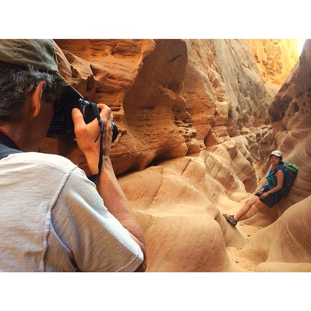 Putting in work to fit the tourist role in some gorgeous slot canyons.