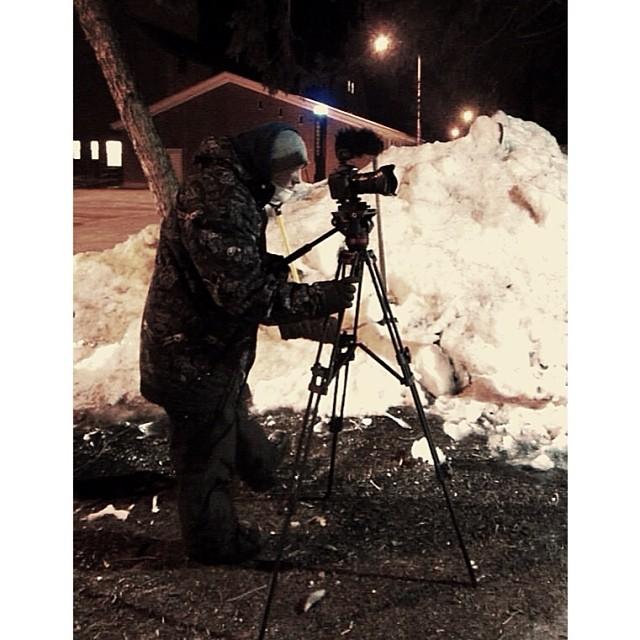 A little BTS snapper from friend Patrick during an urban shoot in freezing temps last week. Get that shot. #scottbarberfilm