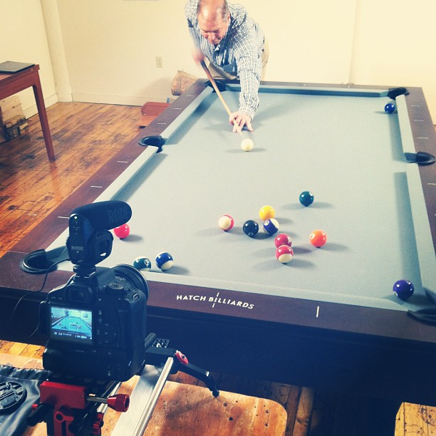 Got some B-roll of Howard showing off his pool skills on one of the most popular table designs he makes. His current title of a pool table specialist all started with a hobby of playing pool and a desire to make furniture. Stick to your passions and work hard was today's lesson! #scottbarberfilm #filmmaking