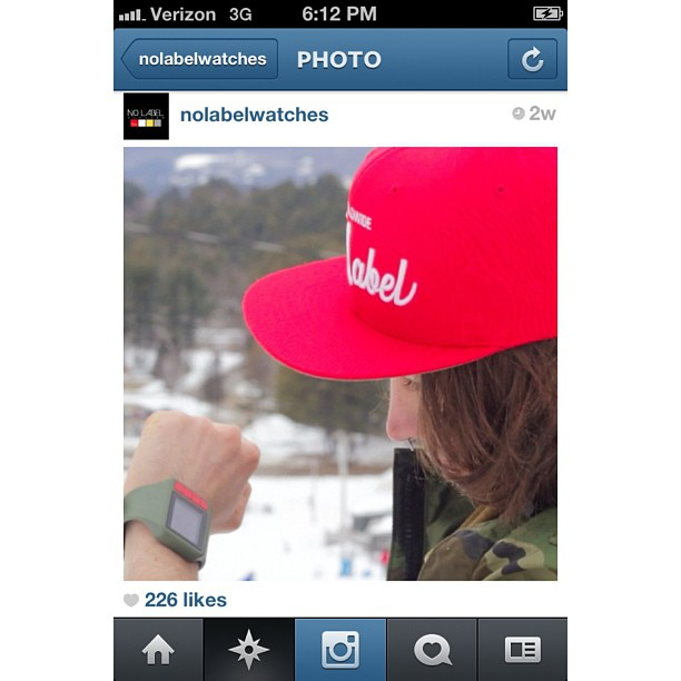 Just checking the @nolabelwatches Instagram and saw this screen grab of one of my shots featuring John O'boyle with 200+ likes. Kids famous haha. #scottbarberfilm #nolabelwatches #snowboarding