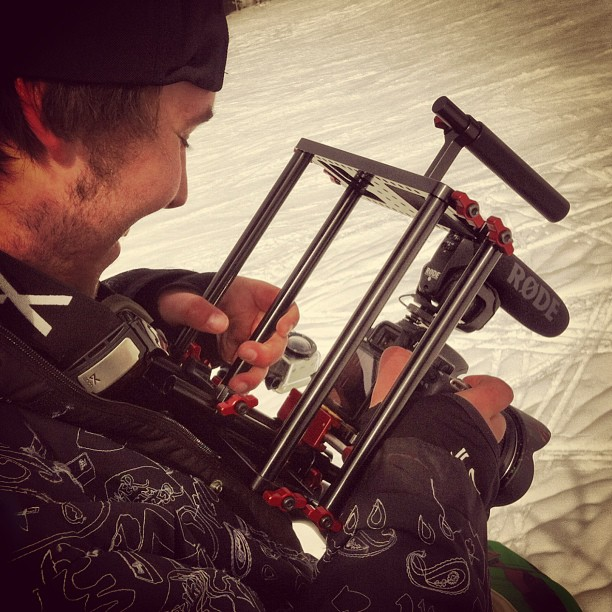 Checking those shots on the chairlift. #snowboarding #scottbarberfilm #nolabelwatches
