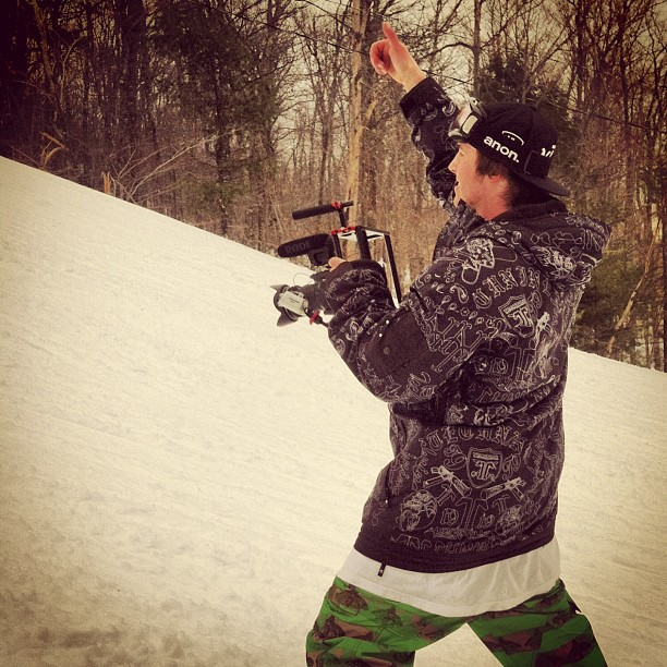 Giving Manard the go head before his dirty cab 2 disaster on the big DFD. #snowboarding #scottbarberfilm #filmmaking