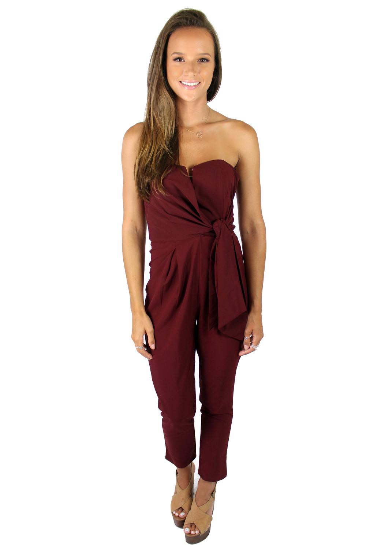 Helen Owen wearing our Venice Strapless Pantsuit in Maroon.
