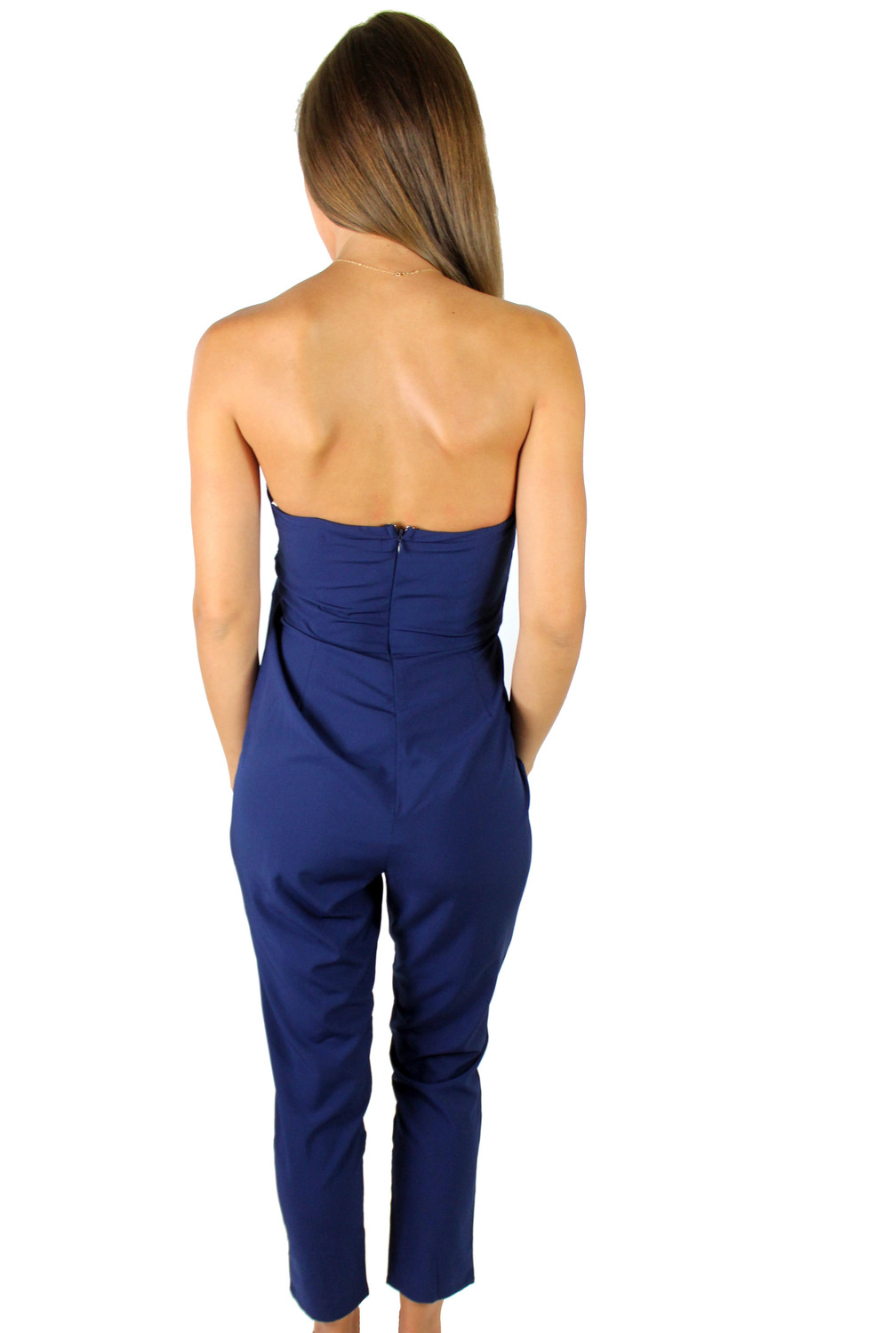 Backview of our Venice Jumpsuit in Navy.