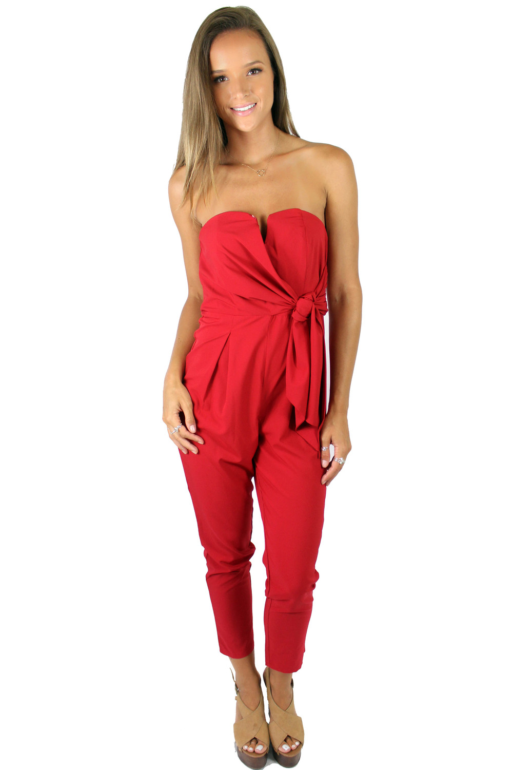 Helen Owen wearing our Venice Strapless Pantsuit in Red.