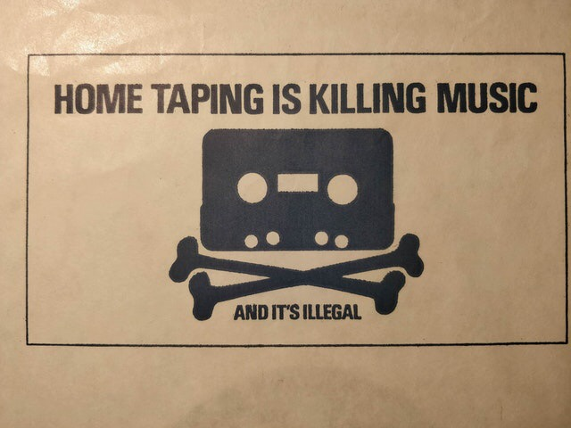 Anti-piracy label on a vinyl record in the 80's