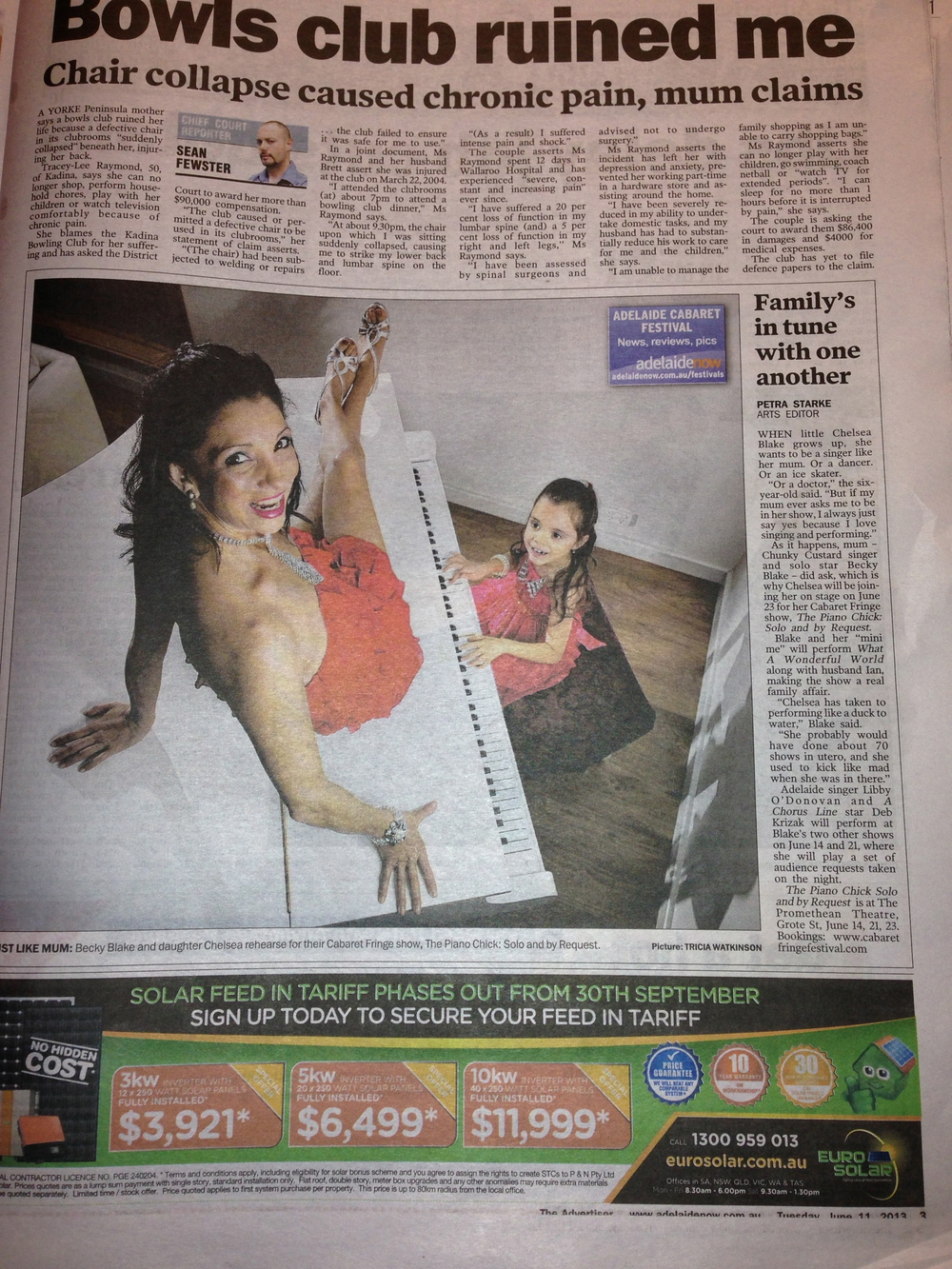 Publicity for The Piano Chick, Solo and By Request for the Adelaide Cabaret Fringe Festival, The Advertiser, June 11th, 2013.