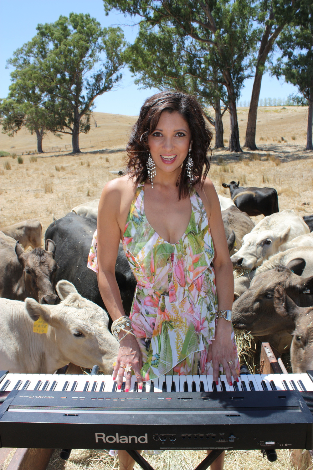 The Piano Chick at her Adelaide Hills farm, dressed in Liza Emanuele fashions