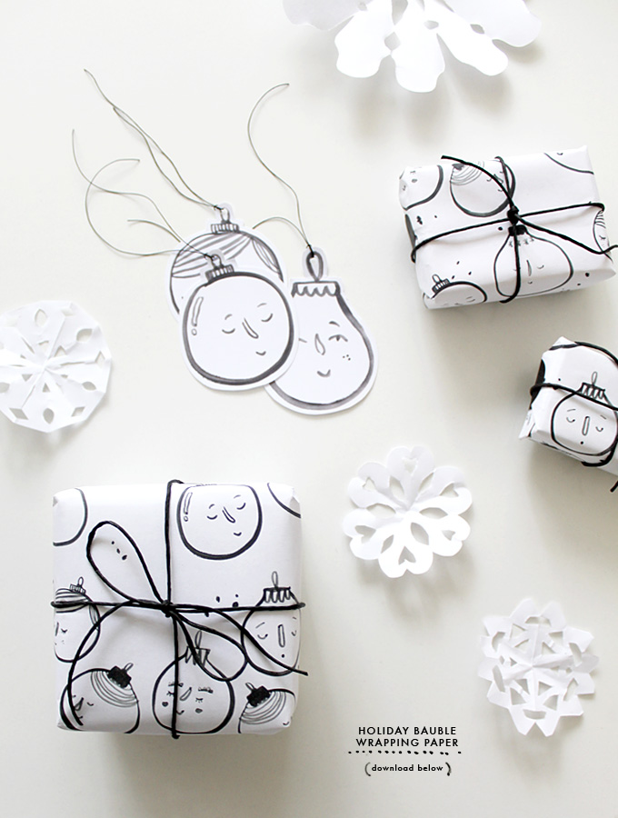 photo relating to Printable Christmas Wrapping Paper titled Do-it-yourself Printable : Trip Bauble Wrapping Paper Evie Barrow