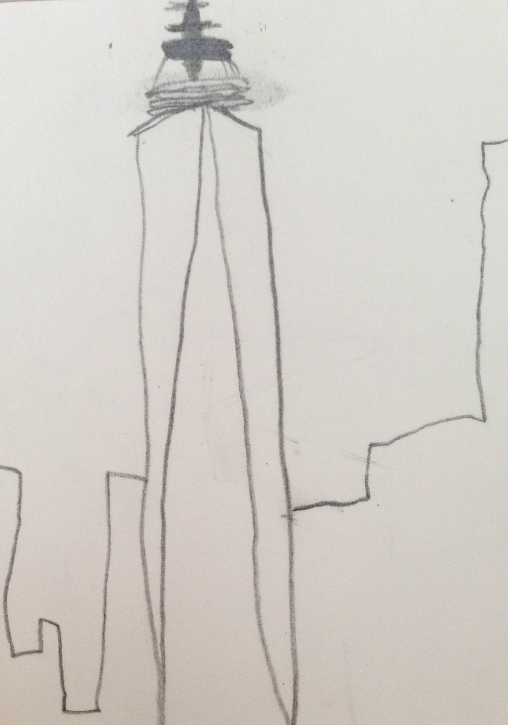 "In the art studio, 4th and 5th graders have been considering what inspires them in the everyday. One student drew the WTC Freedom Tower. Its form and height also inspire our Kindergartners. One Kindergarten student called it ""the building w  here the two buildings used to be."" This drawing is now hanging on the 6th floor amongst other thoughts and drawings that inspire us."