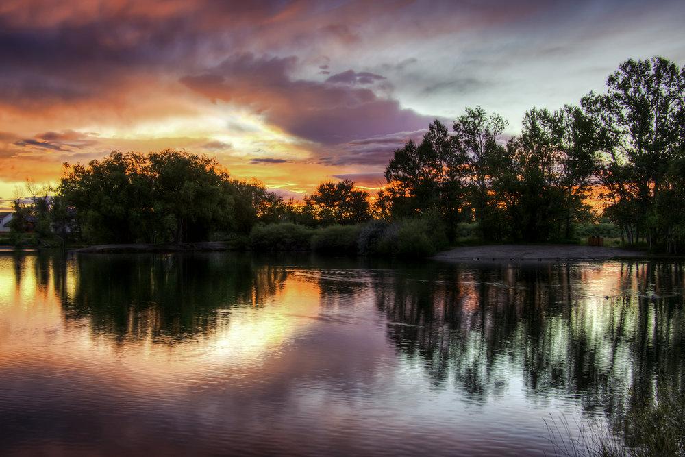 Bozeman Pond at sunset