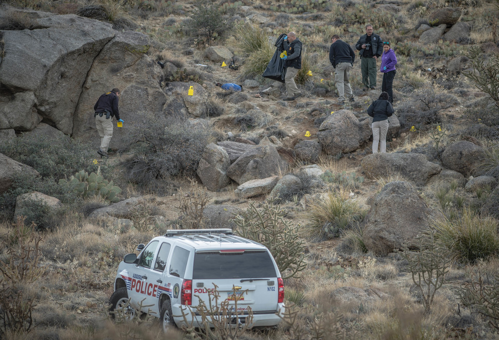 This was the scene the morning after James Boyd, a homeless man, was shot by police in the foothills of the Sandia Mountains.  This event caused outrage in the community and eventually led to a huge protest this past Sunday, two weeks after the shooting.