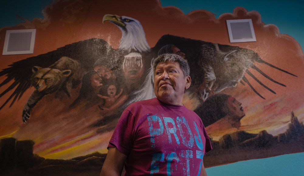 Gordon Yawakia, a prevention coordinator at the Albuquerque Indian Center, said both weekend murder victims, Allison Gorman and Kee Thompson, were clients and artists. Gorman was said to be a cousin of the late Navajo artist R.C. Gorman. (Roberto E. Rosales/Albuquerque Journal)