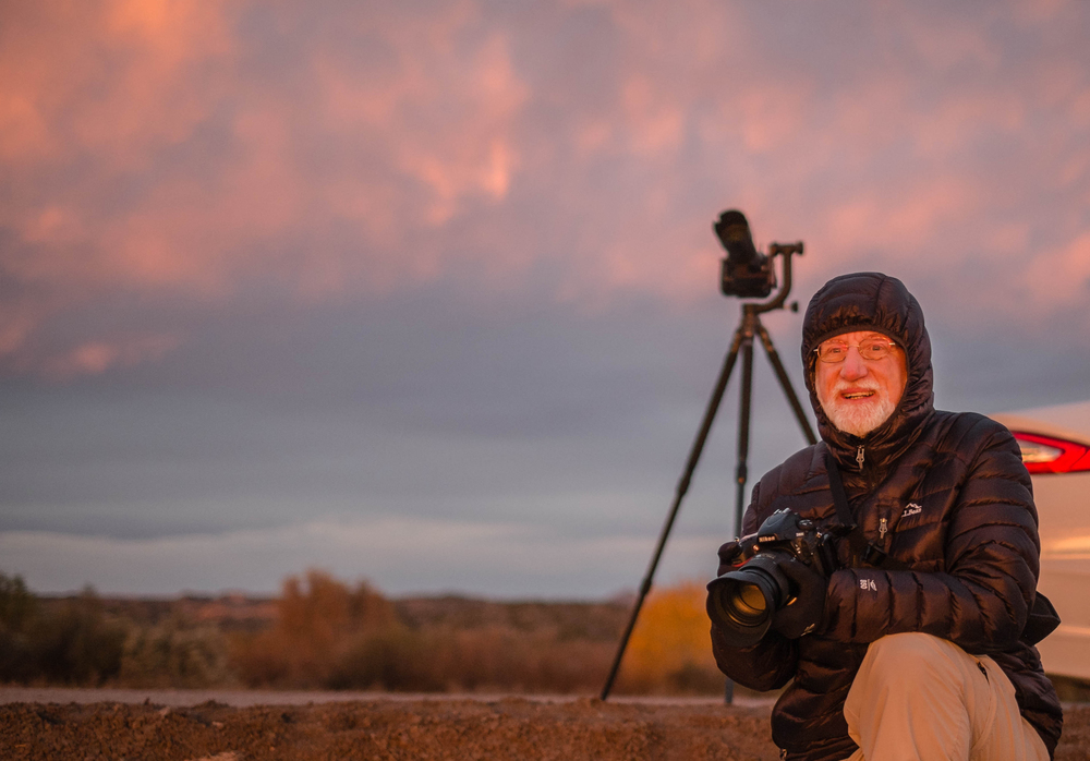 Florida physician Gary Chappel bundles up against the early morning cold at Bosque del Apache, waiting for just the right moment to take photographs. (Roberto E. Rosales/Albuquerque Journal)