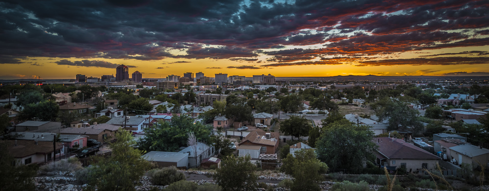 Albuquerque during sunset looking West