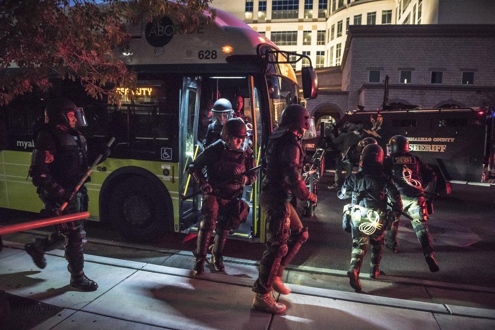 Anti Riot Police Move in