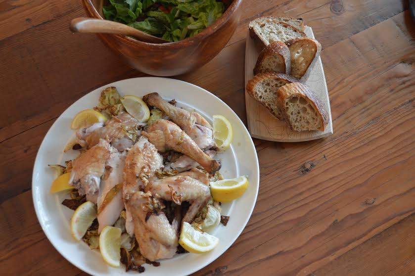 Dinner   Bell  Farm  chicken , roasted with sage, lemon & rosemary salt.