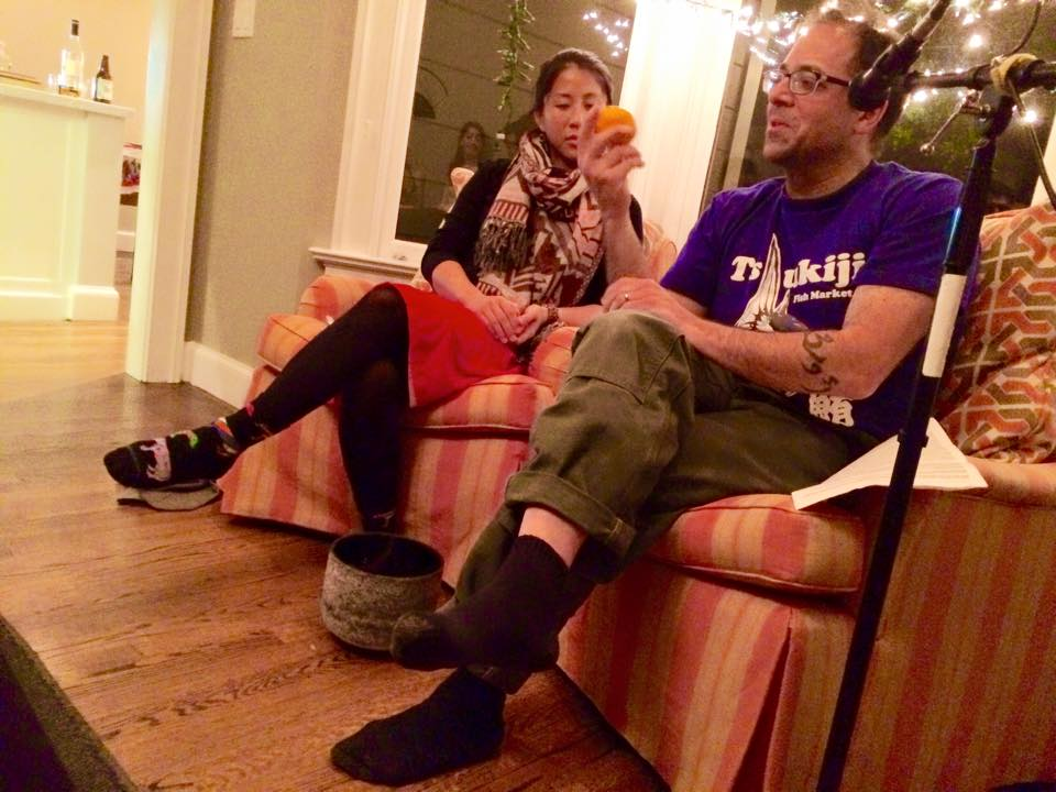Storytelling at our volunteer party with Pei-Ru Ko Real of Food Real Stories (left), featuring Sam Mogannam from Bi-Rite Market.