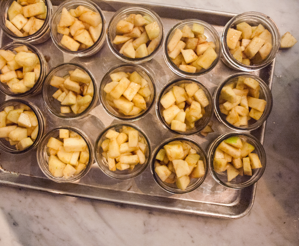 Apple Ginger Pandowdy Mini Pies in the making at our volunteer appreciation party. Photo by volunteer Olivia Maki.