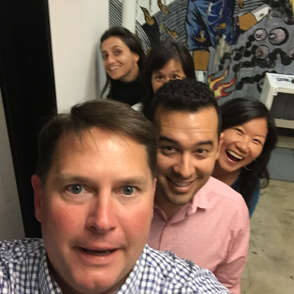 Kitchen Cabinet members snapping a selfie. The task: take a photo of your team from tallest to shortest. Pictured here: Rob Trice, Tony Moraga, Esther Park, Pei-Yee Woo, and Olivia Tincani. Cabinet members not pictured here (because they were on the other team!): Kate Hamilton, Leticia Landa, Nicole Mason, Simon Richard, and Jeffrey Westman.