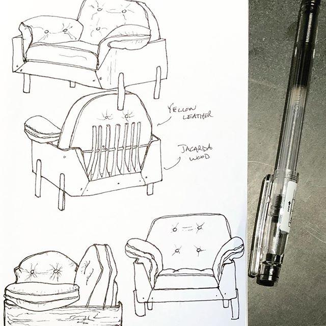 Brazilian Lounge Chair in Jacarda Wood and Yellow Leather, 1965. • • • • #furnituredesign #vintagemodern #brutalist #modernfurniture #novorumo #jorgezalszupin #brazildesign #sketchbook