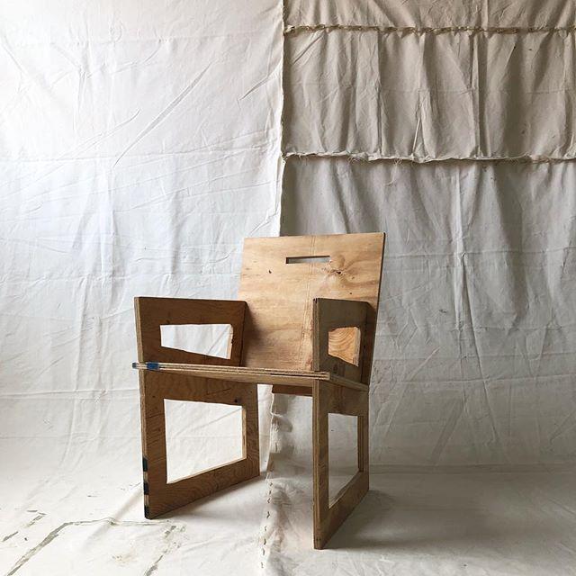 Screen test: F Yr Constructivist Chair w/ hand stitched cyclo Δ • • • • • #akadia #constructivistchair #modernistchair #prototypechair #plywoodchair #vintagemodernism #collectablefurniture #collectableminimalism #minimalism #minimalistfurniture #cyclorama