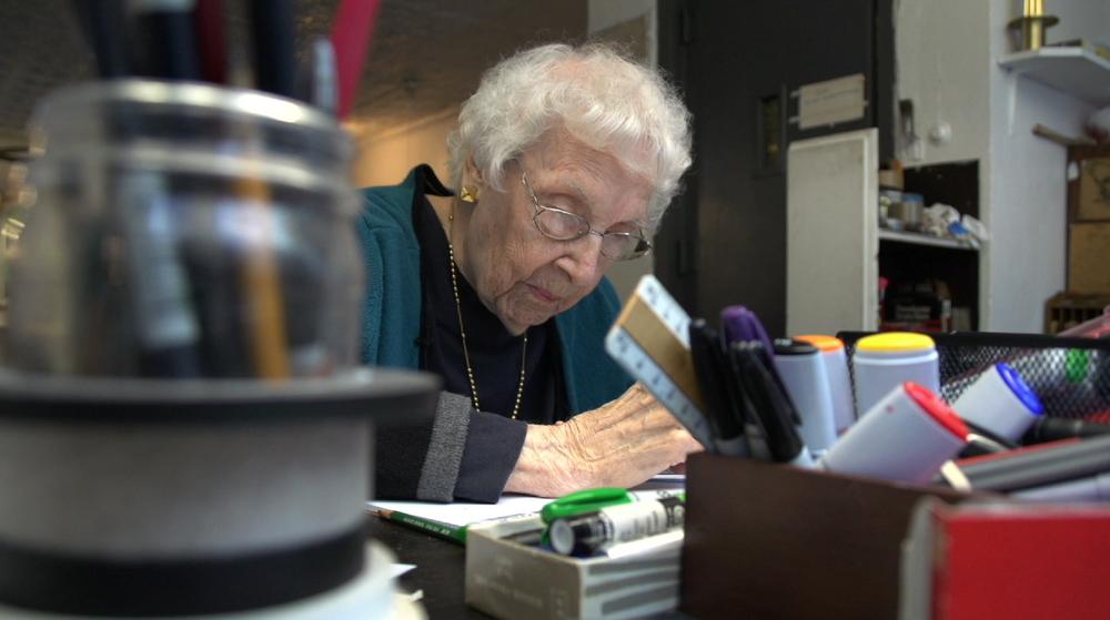 Carmen Herrera at work, 2014