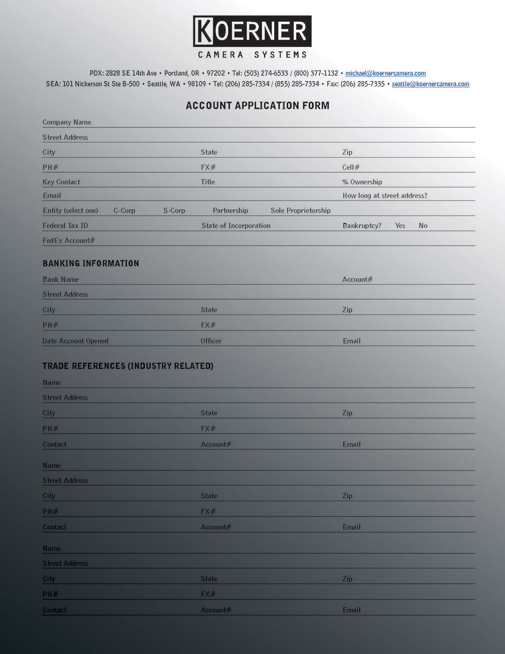 KCS NEW CLIENT ACCOUNT APPLICATION