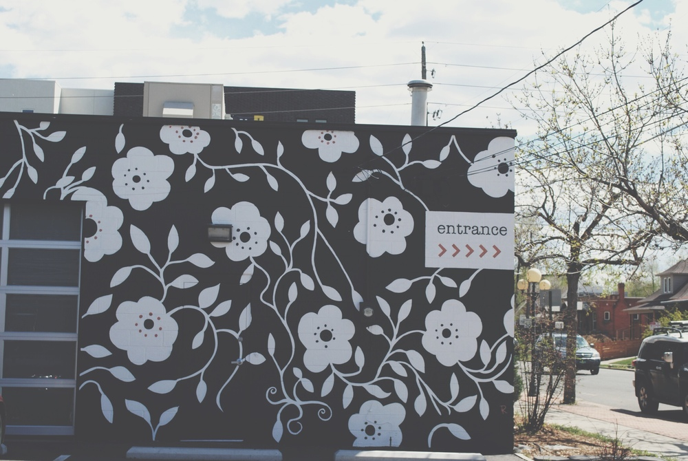 mural by Artistry Events & Design at a&bé bridal shop on 35th & Tejon