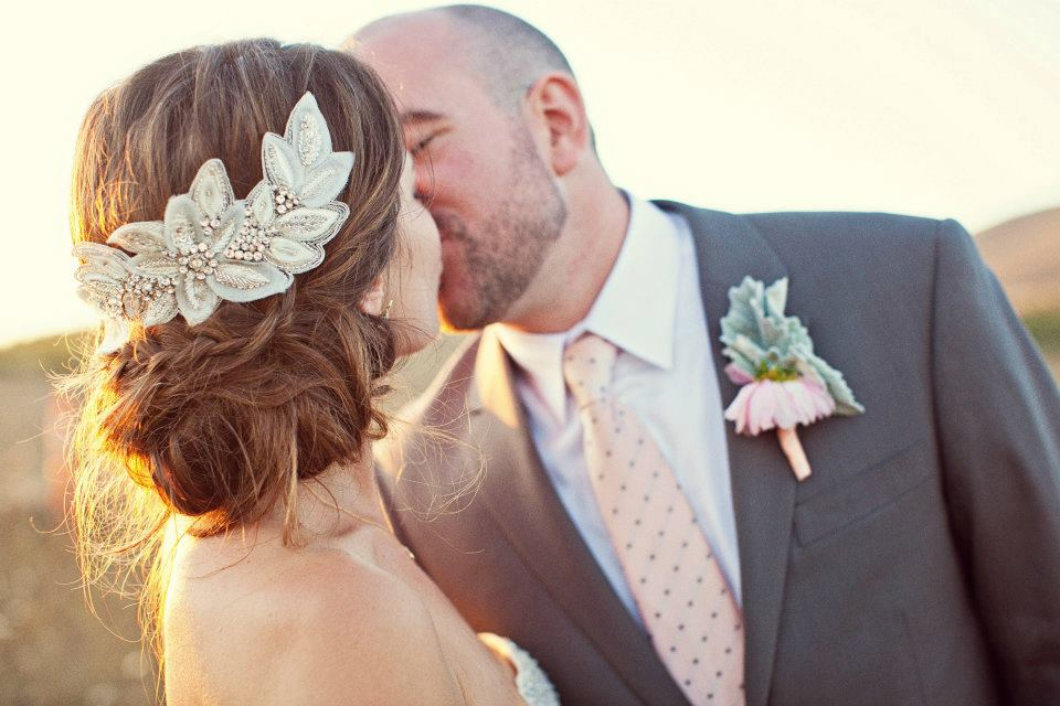 untamed petals designer, Amanda Judge, on her wedding day wearing one of her gorgeous hair pieces! available at a&be bridal shop
