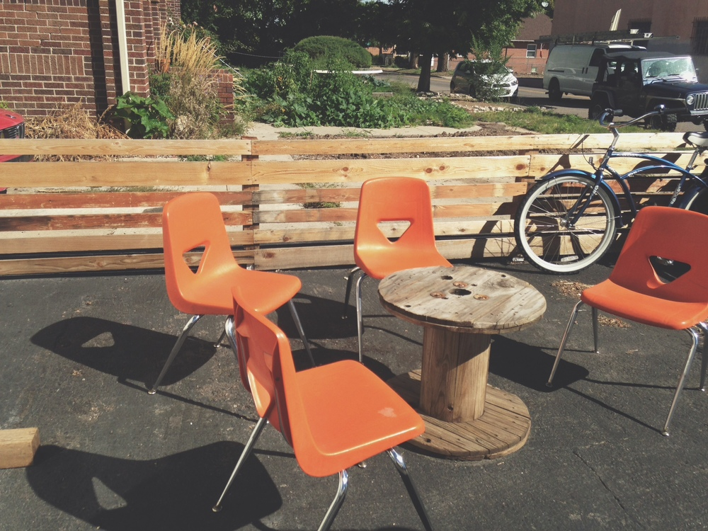 School chairs for gathering & talking & soaking up some Denver sun!
