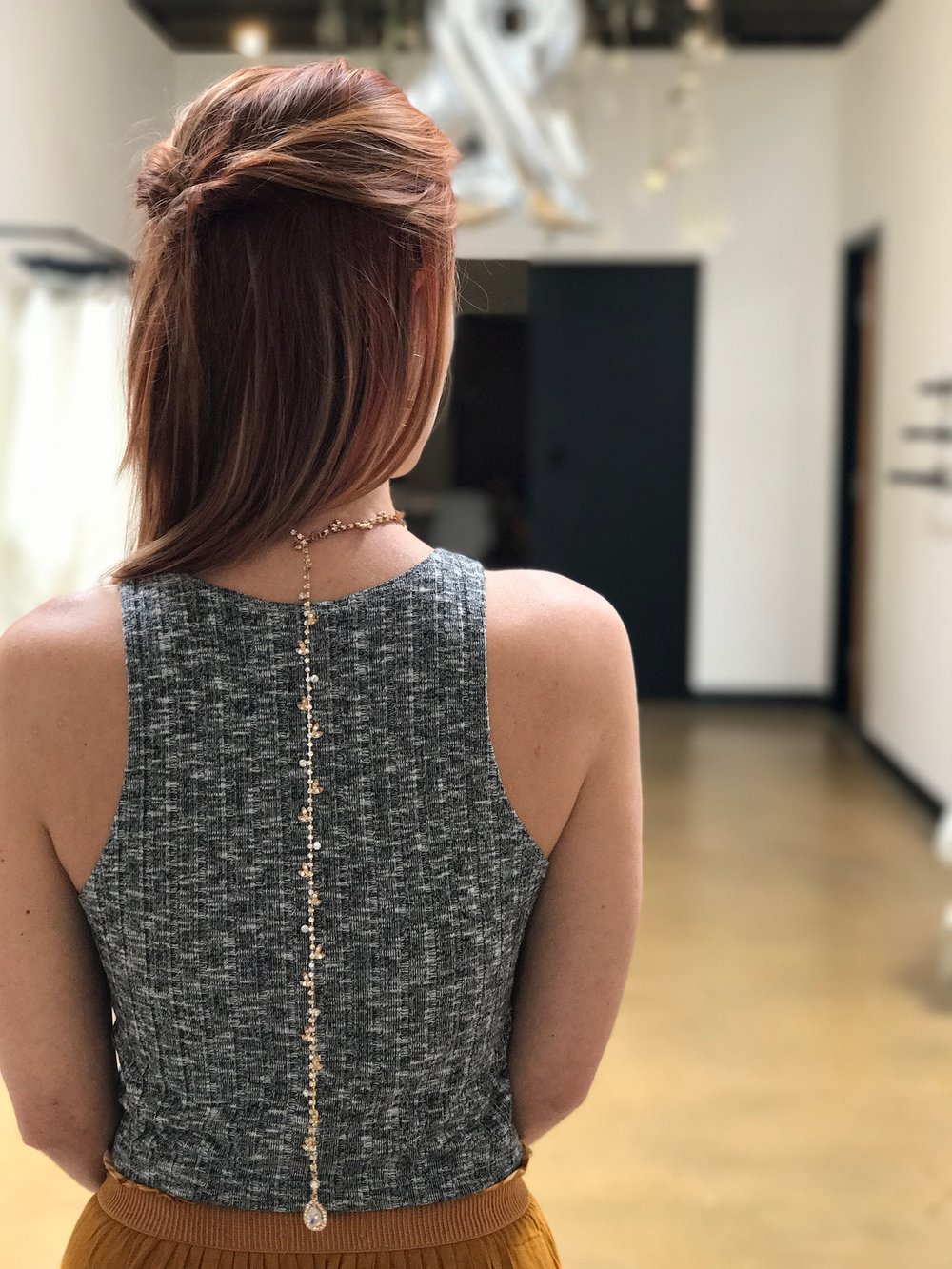 Necklace by  Untamed Petals  to perfect a low back bridesmaid look