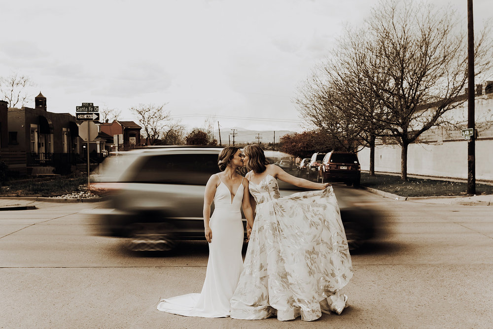 792a29996fd Dresses: 'Karina' by Rebecca Schoneveld + 'Bruna' by Theia / Photography:  Kenz + Nick / Planning + Styling: Wedfully / Venue: Space Gallery / Floral:  Little ...