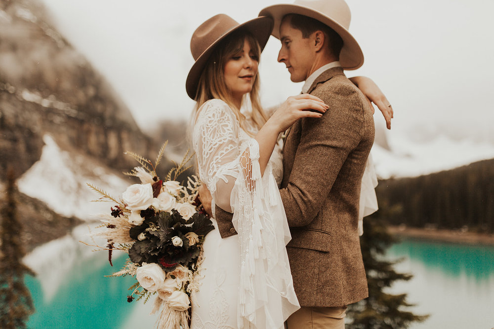 Banff Elopement l Lake Moraine Elopement l Vintage Bolo Tie l Pampas Grass Boho Boquet l Rue Design Wedding Dress l Banff Wedding Photographer l Destination Wedding Photographer l Katy Rose Photo_-4.jpg