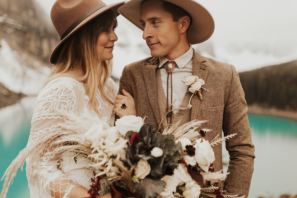 Banff Elopement l Lake Moraine Elopement l Vintage Bolo Tie l Pampas Grass Boho Boquet l Rue Design Wedding Dress l Banff Wedding Photographer l Destination Wedding Photographer l Katy Rose Photo_-8.jpg