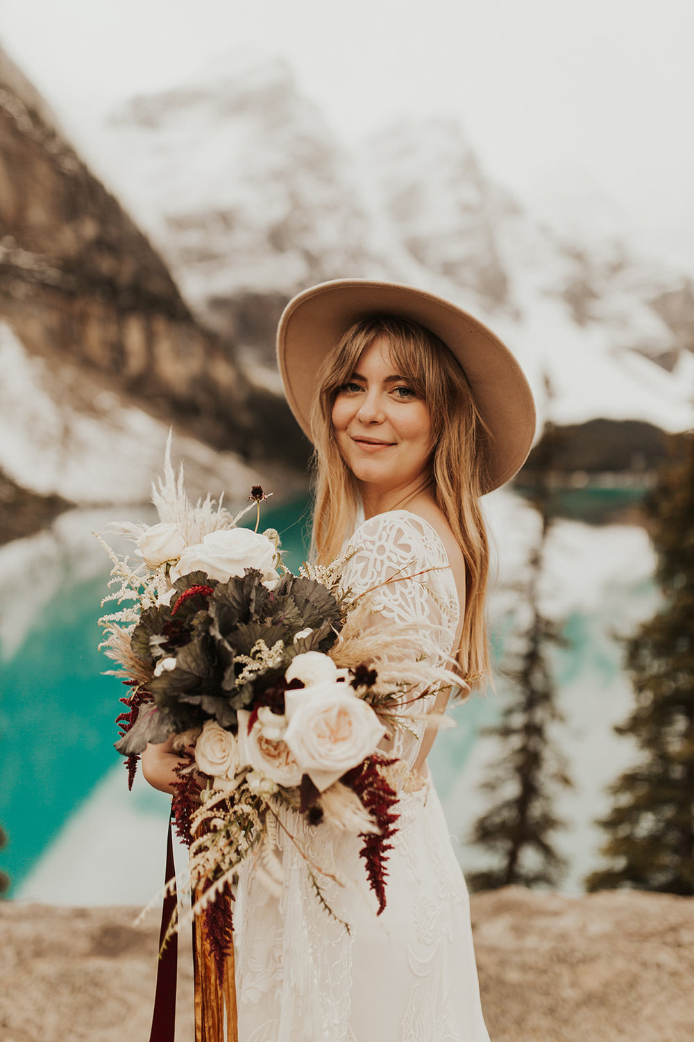 Banff Elopement l Lake Moraine Elopement l Vintage Bolo Tie l Pampas Grass Boho Boquet l Rue Design Wedding Dress l Banff Wedding Photographer l Destination Wedding Photographer l Katy Rose Photo_-106.jpg