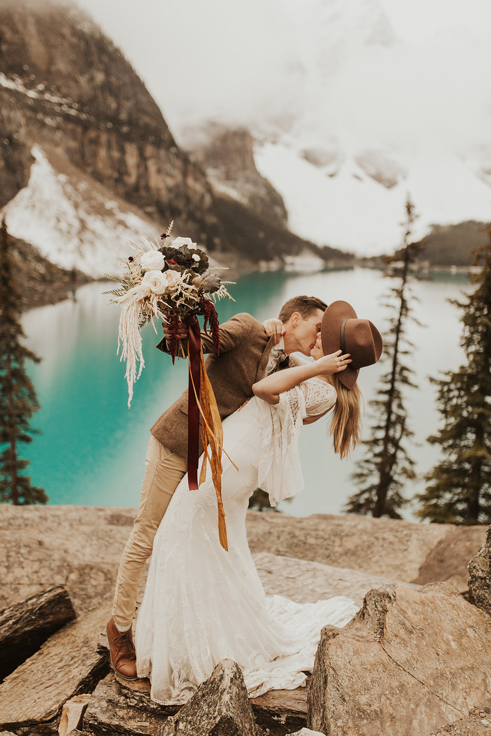 Banff Elopement l Lake Moraine Elopement l Vintage Bolo Tie l Pampas Grass Boho Boquet l Rue Design Wedding Dress l Banff Wedding Photographer l Destination Wedding Photographer l Katy Rose Photo_-129.jpg