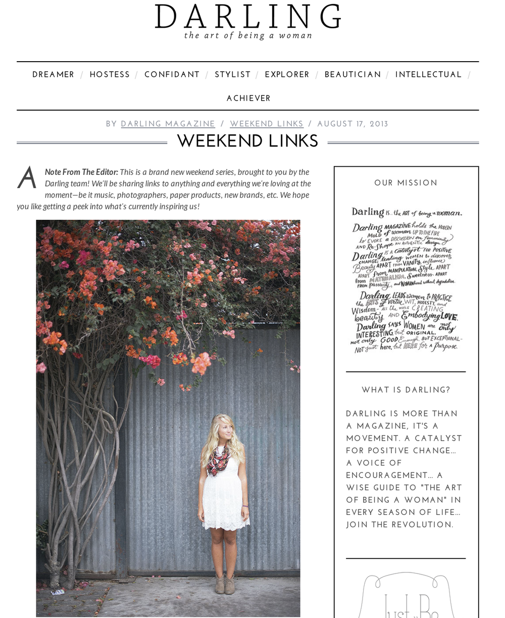 Weekend Links | Darling Magazine Blog    http://darlingmagazine.org/weekend-links/