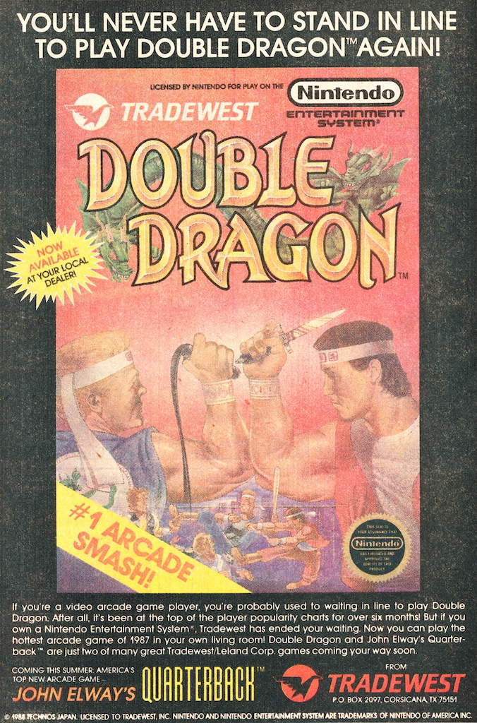 Vintage Video Game Advertisement Of The Week Double Dragon